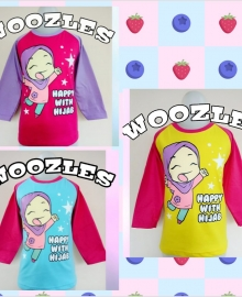 Kaos Anak Muslim Woozles Happy with Hijab